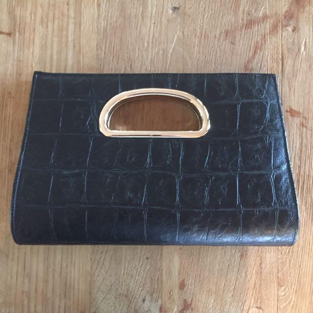 Forever New Black Gold Clutch Bag