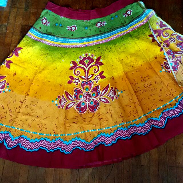 6647e97260428 *free shipping*Colorful 100% Cotton Wraparound Skirt