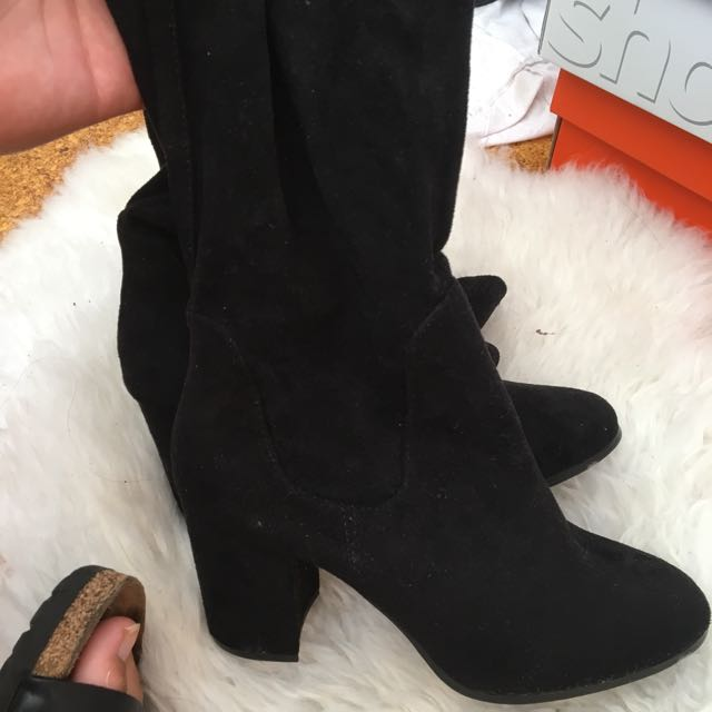Glassons Thigh High Black Sock Boots Size 8