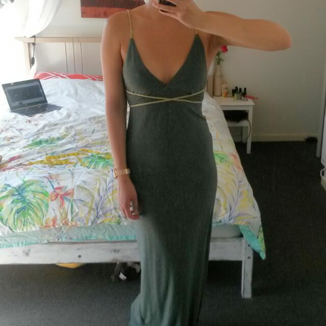 Grey with Gold Rope Maxi