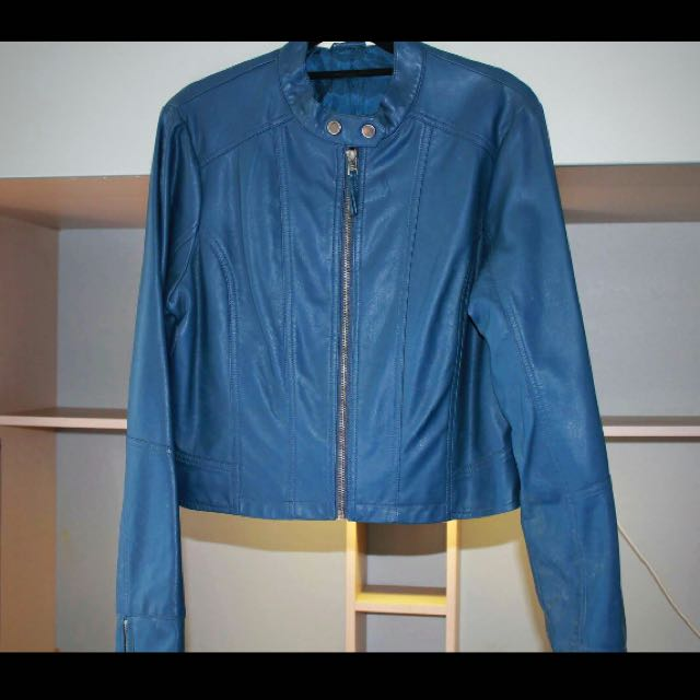 Jay Jays Blue Pleather Biker Jacket