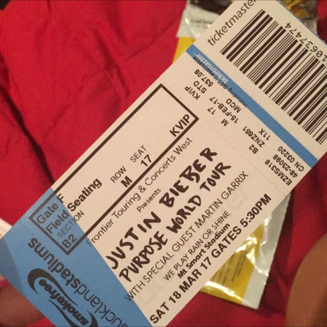 Justin Bieber Purpose Tour Ticket