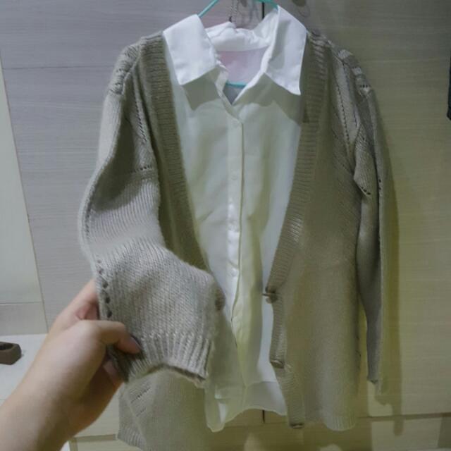 Khaki Knit Outer