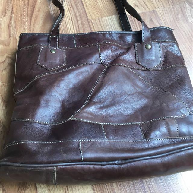 Reprice!! Leather Tote Bag ( No Brand )