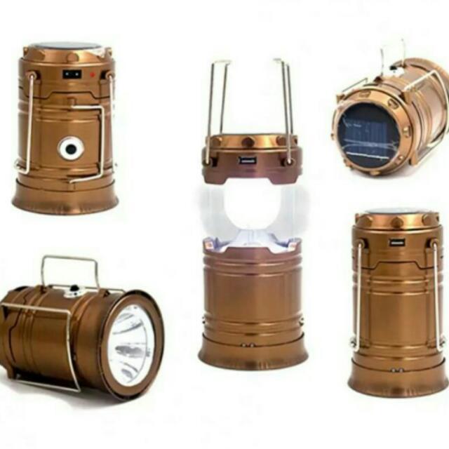 LED Solar Camping Lamp Rechargable Lantern with Flashlight