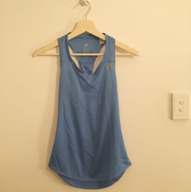 Light Blue Adidas Workout Gym Top Twisted Back Size XS