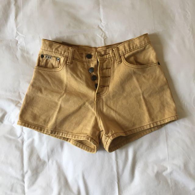 Light Mustard Short Jeans