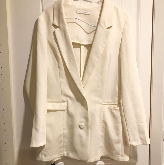 LOWRYS FARM 米白色長版西裝外套