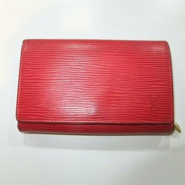 LV紅色水波紋零錢皮夾保證真品