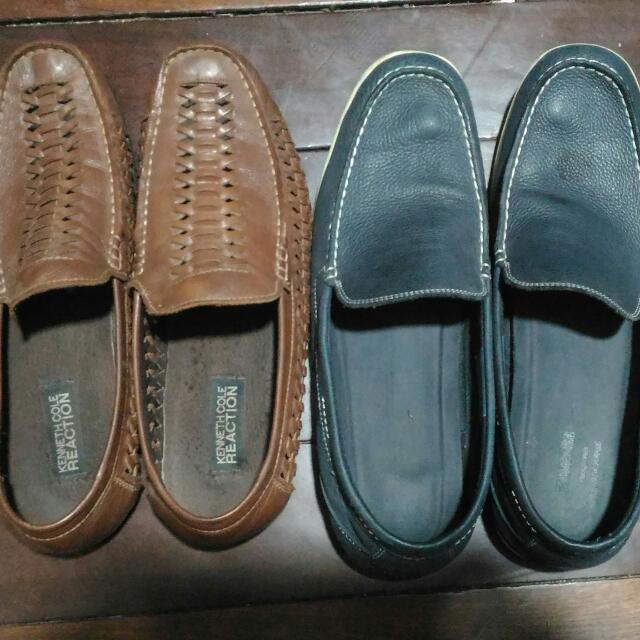 Original Kenneth Cole And Rockport Slip On Leather Shoes Both Size 10 US