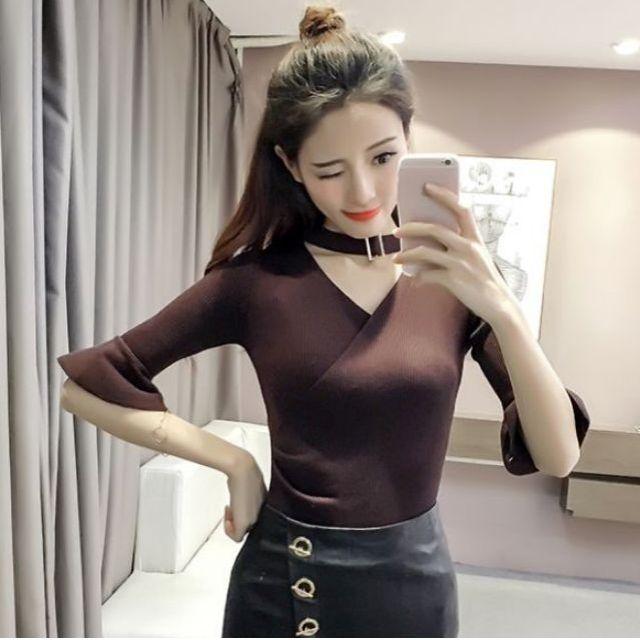 31c4ee8424585e PO] Korean Buckle Choker Bell Sleeve Blouse, Women's Fashion ...