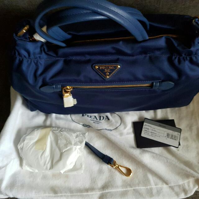 9e337025df75 Prada B1843M Tessuto Nylon   Saffiano Leather Trim Top Zip Bag ...