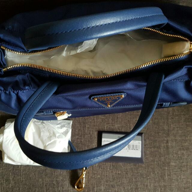093ca37cde3b Prada B1843M Tessuto Nylon   Saffiano Leather Trim Top Zip Bag- Royal Blue