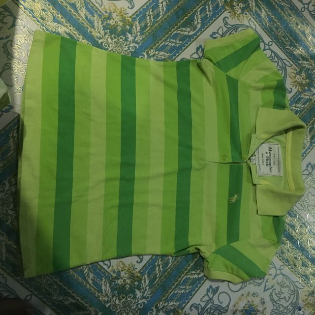 PreLoved Abercrombie And Fitch Green Striped Collared Shirt