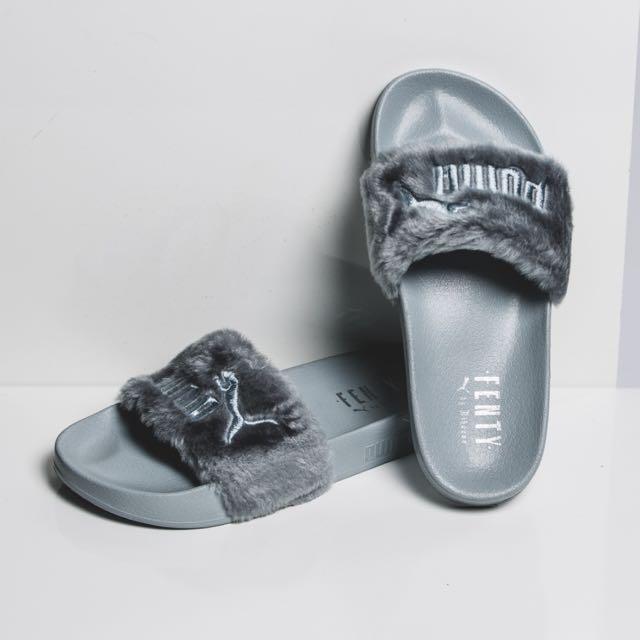 newest 31968 c3906 Puma Fenty Fur Slides (grey), Women's Fashion, Shoes on ...