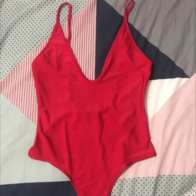 Red Bardot Bodysuit