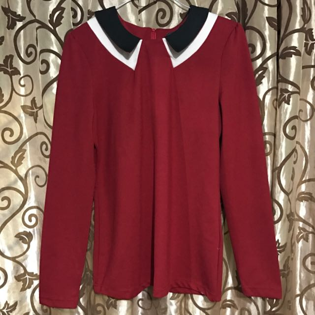 NEW Red Collar blouse