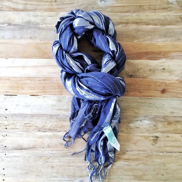 Scarf - Blue with Silver Accent