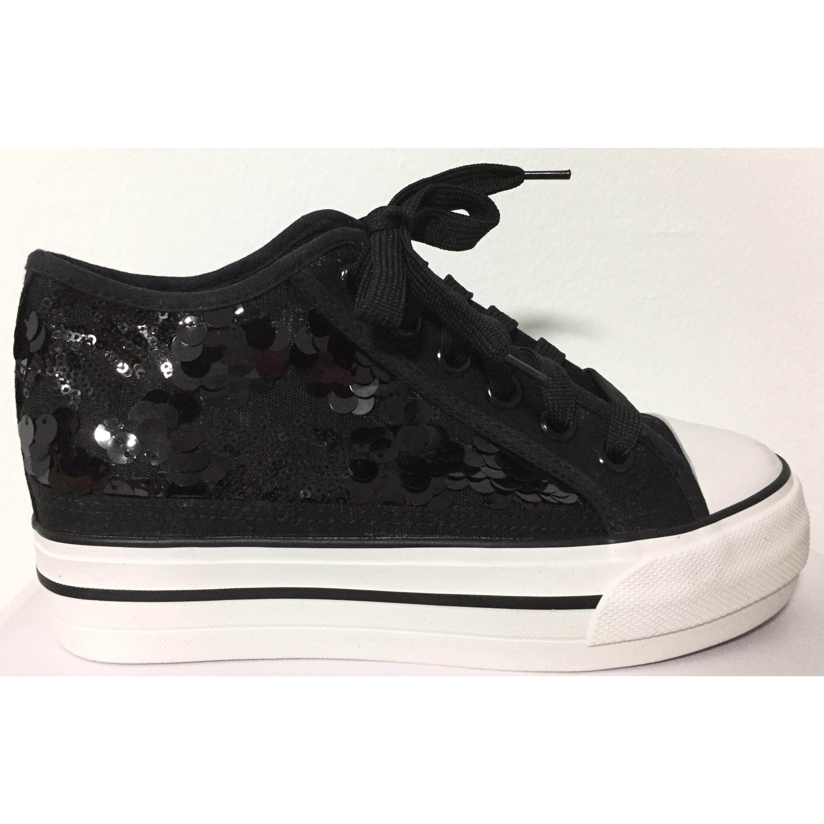 Black Sequinned Platform Sneakers