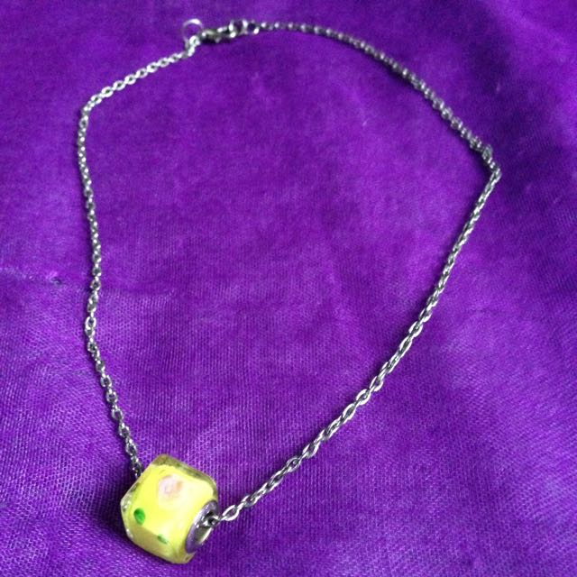 Stainless Necklace/ Choker With Yellow Block Pendant