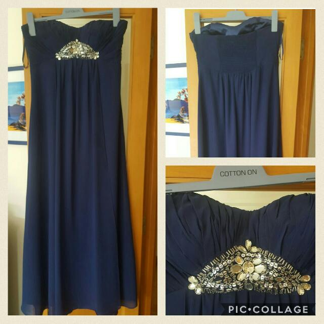 Strapless Navy Long Dress