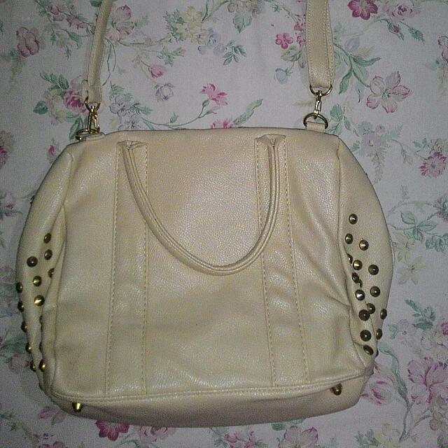 Studded Beige Shoulder Bag