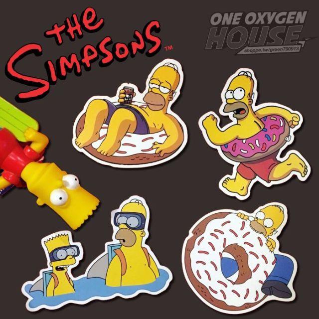The Simpsons 辛普森 防水貼紙 家族 荷馬 霸子 辛普森家庭 卡通 4張1套 霧面 貼紙 行李箱貼 安全帽