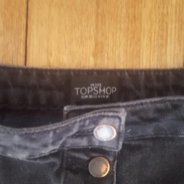 Top Shop Petite UK 10 black washed denim button up skirt, biker, rock chick