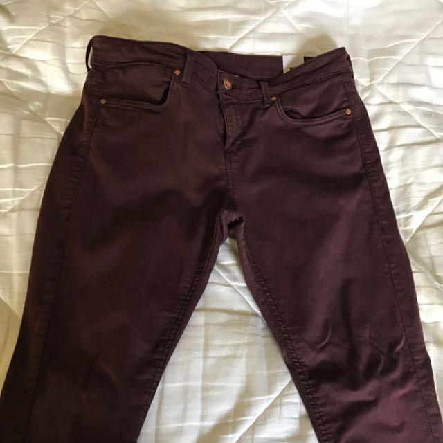 Topshop Burgundy Jeans
