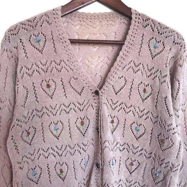 Vintage古著🔹手工愛心勾織簍空刺繡玫瑰花朵針織外套-可可色