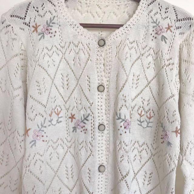 Vintage古著🔹手工勾織簍空刺繡花朵針織外套