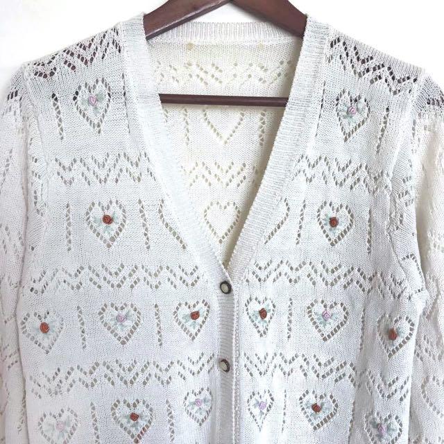 Vintage古著🔹手工愛心勾織簍空刺繡玫瑰花朵針織外套