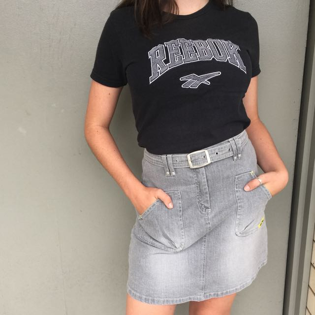 Vintage Grey Denim 'Lisa Rose' Skirt