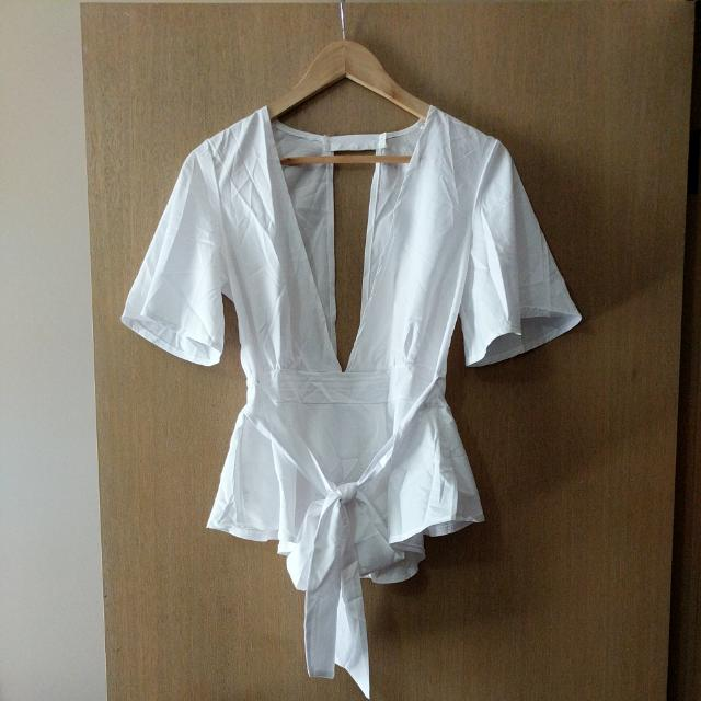 White Blouse - Max cleavage!