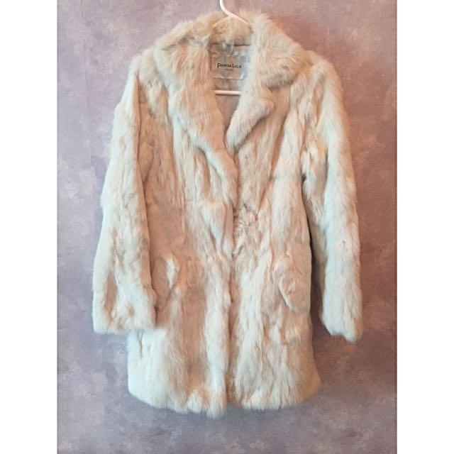 White Real Italian Fur Coat