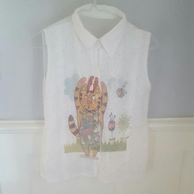 Womens Lace Cat Deer Cartoon Illustration Sleeveless Shirt