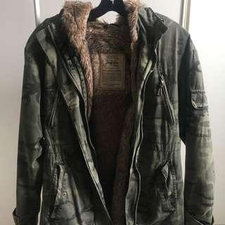 Zara TRF Camo / Camouflage Fur Trimmed Jacket XS