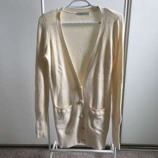 Long Knit Sweater (Cream Beige White - Small)