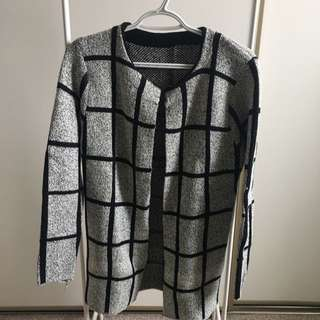Long Checkered Sweater (Black White And Grey Tones)