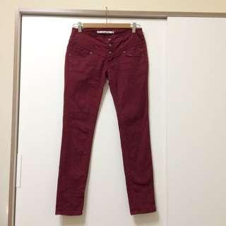 酒紅色 中腰直筒褲 29號