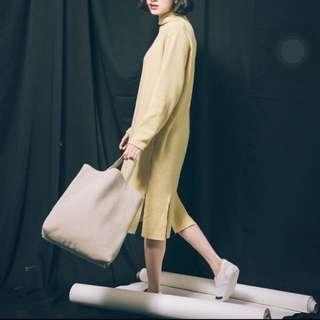 Iki_shop羊毛開衩洋裝