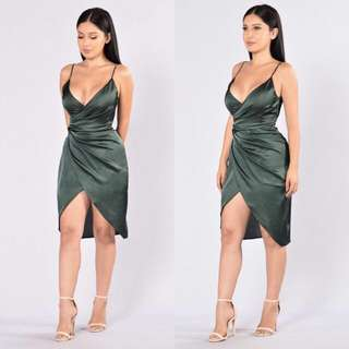 High Slit Dress In Olive
