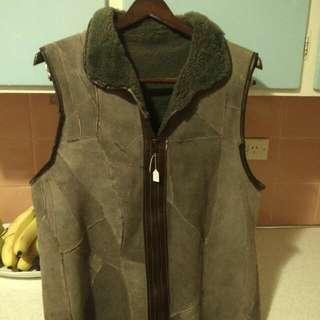 Sheep Wool Vest Rustic Collared European Warm sz M