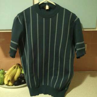 Crewneck top vintage Blue Striped Short Sleeved 50s Rockabilly