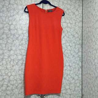 Orange Knee Length Office / Casual Dress