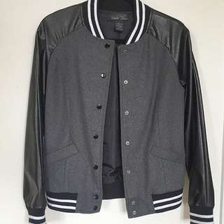 Baseball Jacket with Leather Sleeve