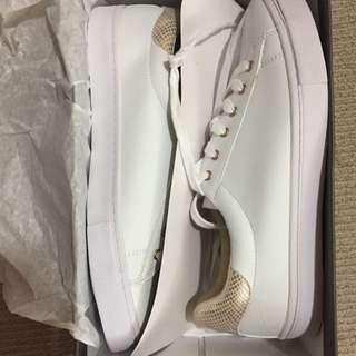 Montana White/rose Gold Snake Trainers Size 40