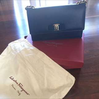 Brand New Salvatore Ferragamo Ginny Bag In Cornflour Blue