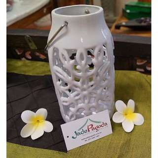 Tall White Ceramic Candle Holder