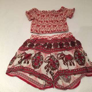 Two Piece Pattern Crop Set